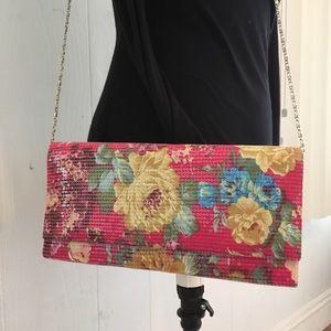 Handbags - BNWOT Floral Sequined Envelope purse
